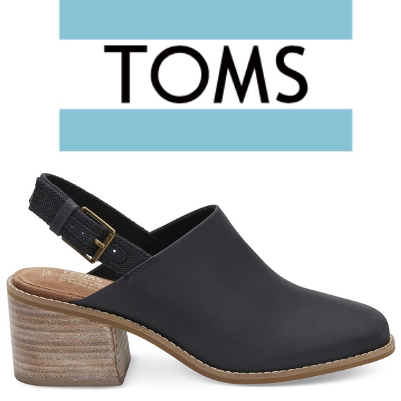 7bcb2a05aad TOMS BLACK LEATHER WOMEN S LEILA SLINGBACK BOOTIES.  M 5ad16b05077b9751af907d1a